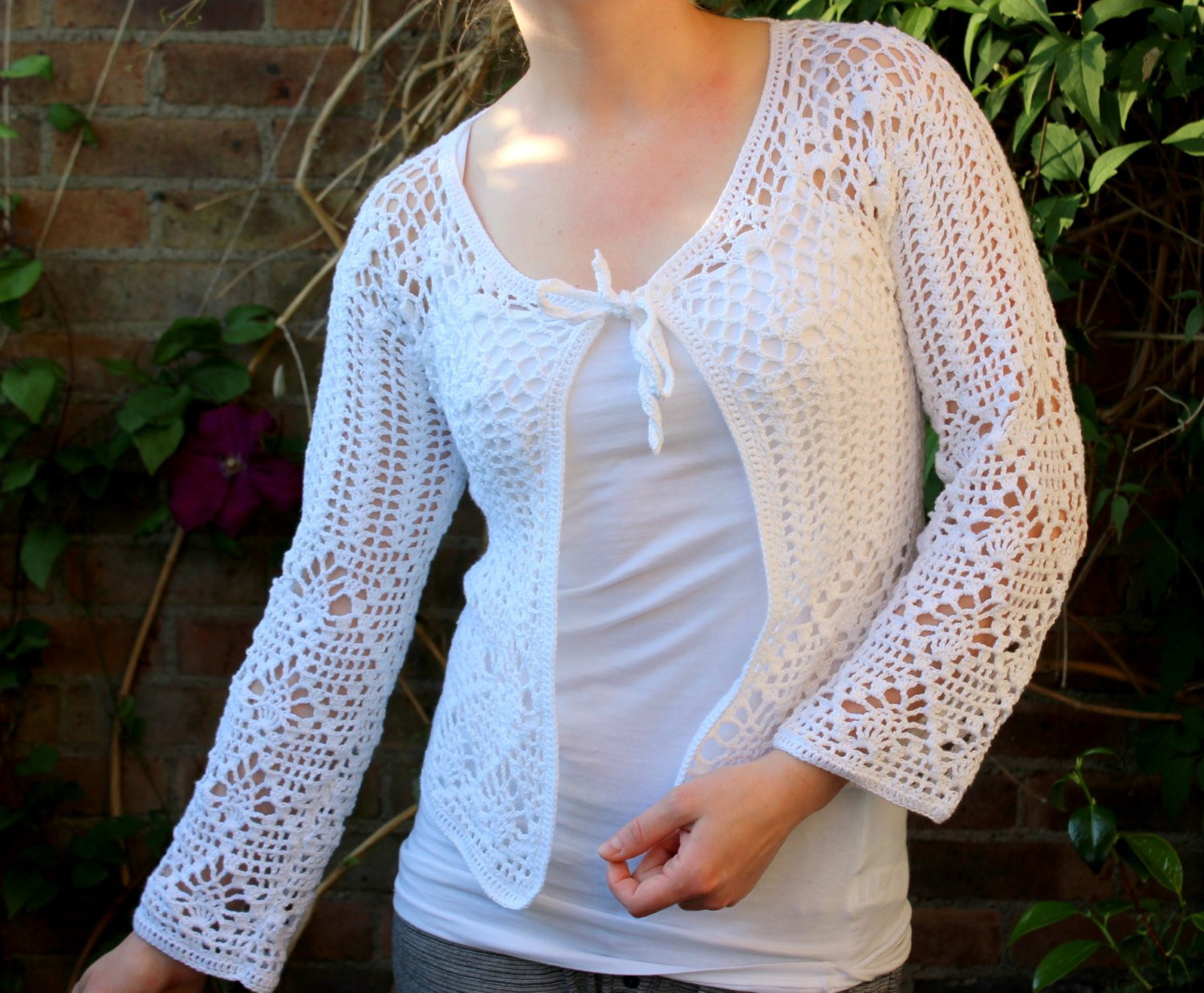 Unique White Crochet Jacket Cardigan Blazer for Women Lace Crochet White Crochet Sweater Of Wonderful 44 Ideas White Crochet Sweater
