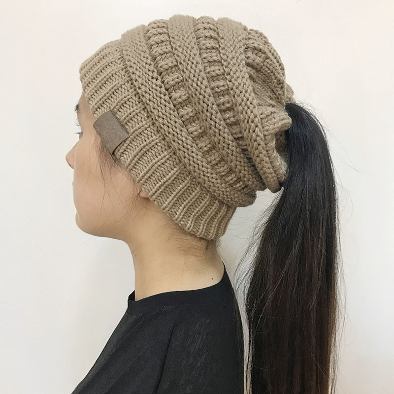Unique Women Stretch Knitted Beanie Hat Messy High Bun Ponytail Beanie Hat with Ponytail Hole Of Incredible 47 Photos Beanie Hat with Ponytail Hole