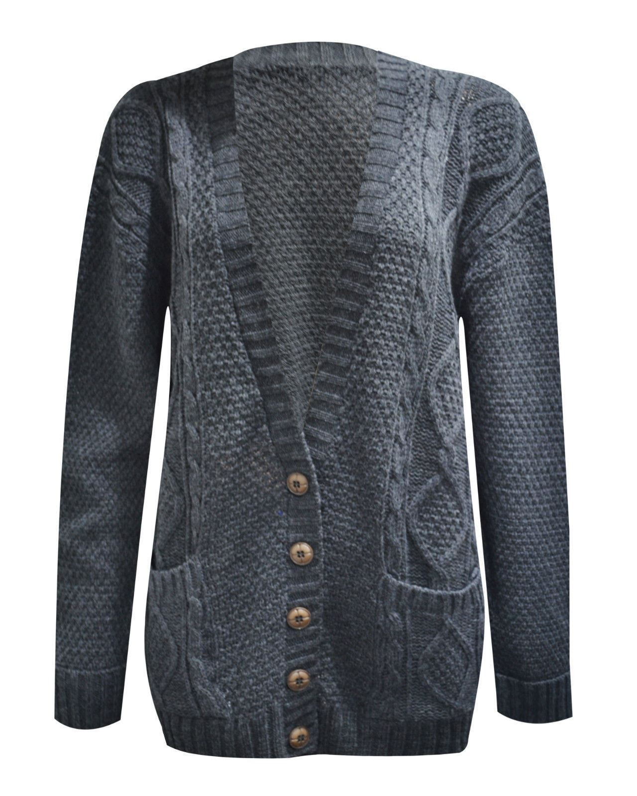 Womens La s Chunky Cable Knit Cardigan Button Long