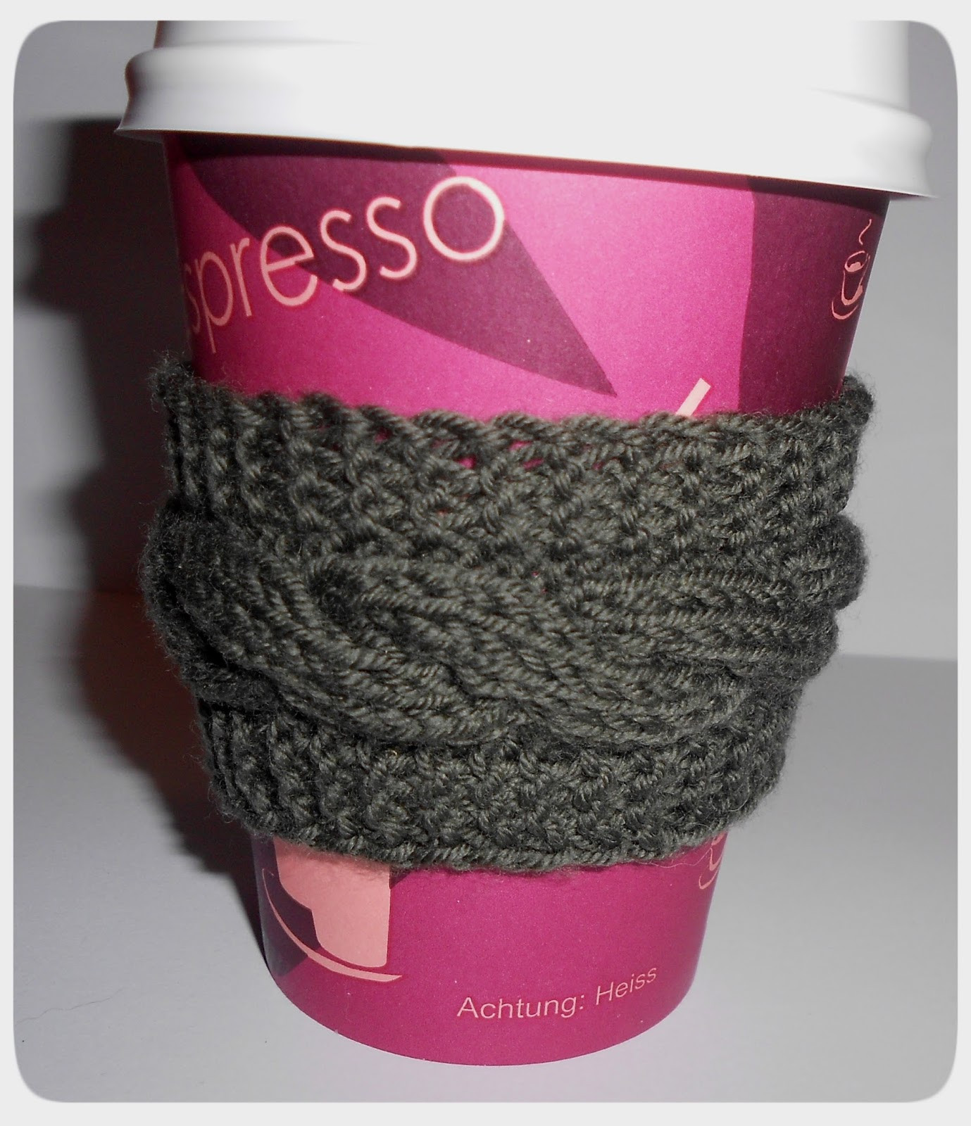 Woollen Thoughts Cabled Coffee Cup Cozy