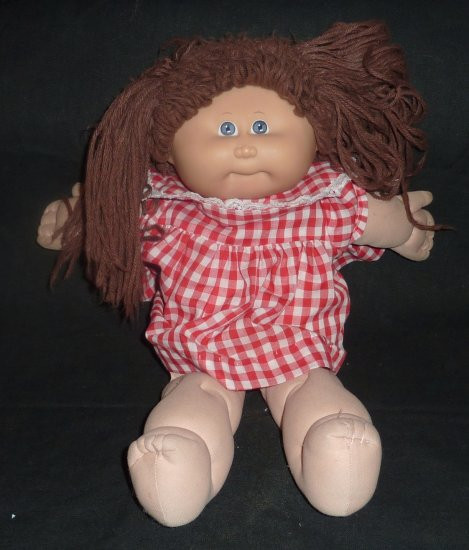 Vintage Brown Haired Girl Cabbage Patch Doll in Checkered