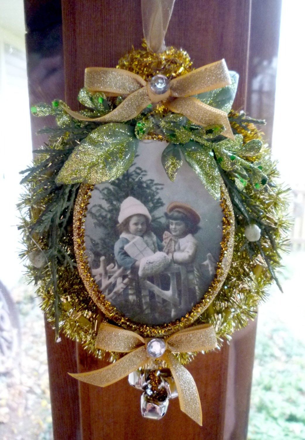 Old Fashioned Christmas Golden Tinsel Ornament
