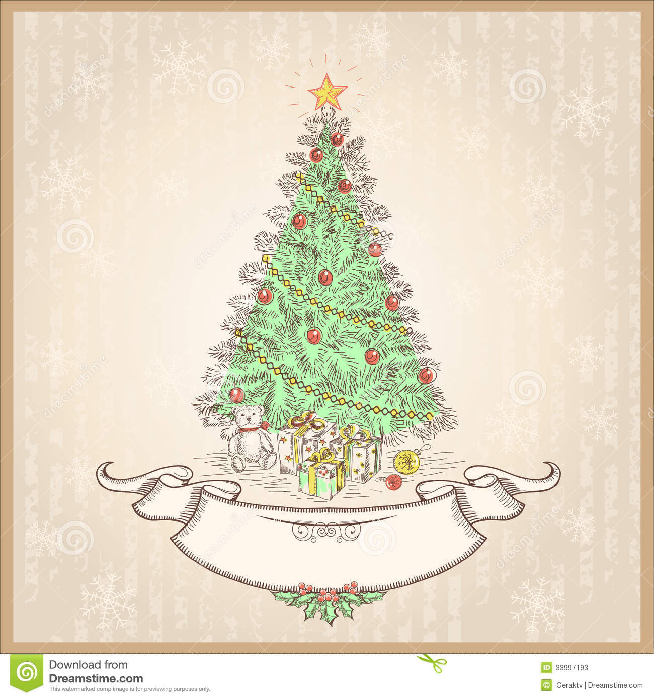 Vintage Christmas Tree Vector Illustration With Ol Stock