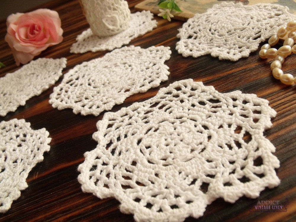 6PCS Lot Vintage HAND Crochet Lace Doily Rounds Scalloped