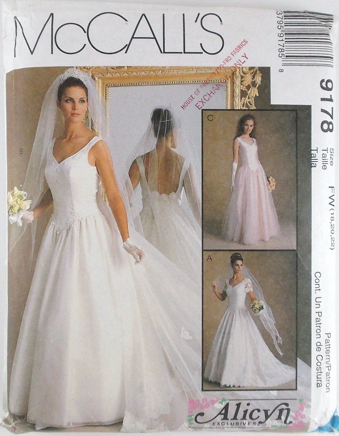 Misses Bridal Gowns Dress Plus Sizes McCalls Pattern 9178