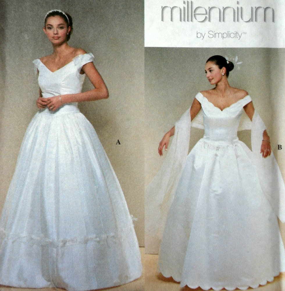 Elegant Wedding Dress Pattern Simplicity 8834 Size 12 14 16 18
