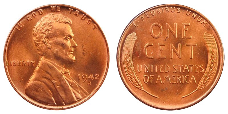 1942 D Lincoln Wheat Cent Bronze posite Penny Value