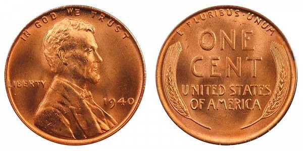 1940 Lincoln Wheat Cent Bronze posite Penny Value and