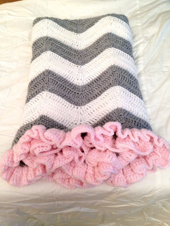 White Crochet Blanket Awesome Crochet Baby Blanket Grey and White Chevron with Pink Ruffle Of Fresh 45 Pics White Crochet Blanket