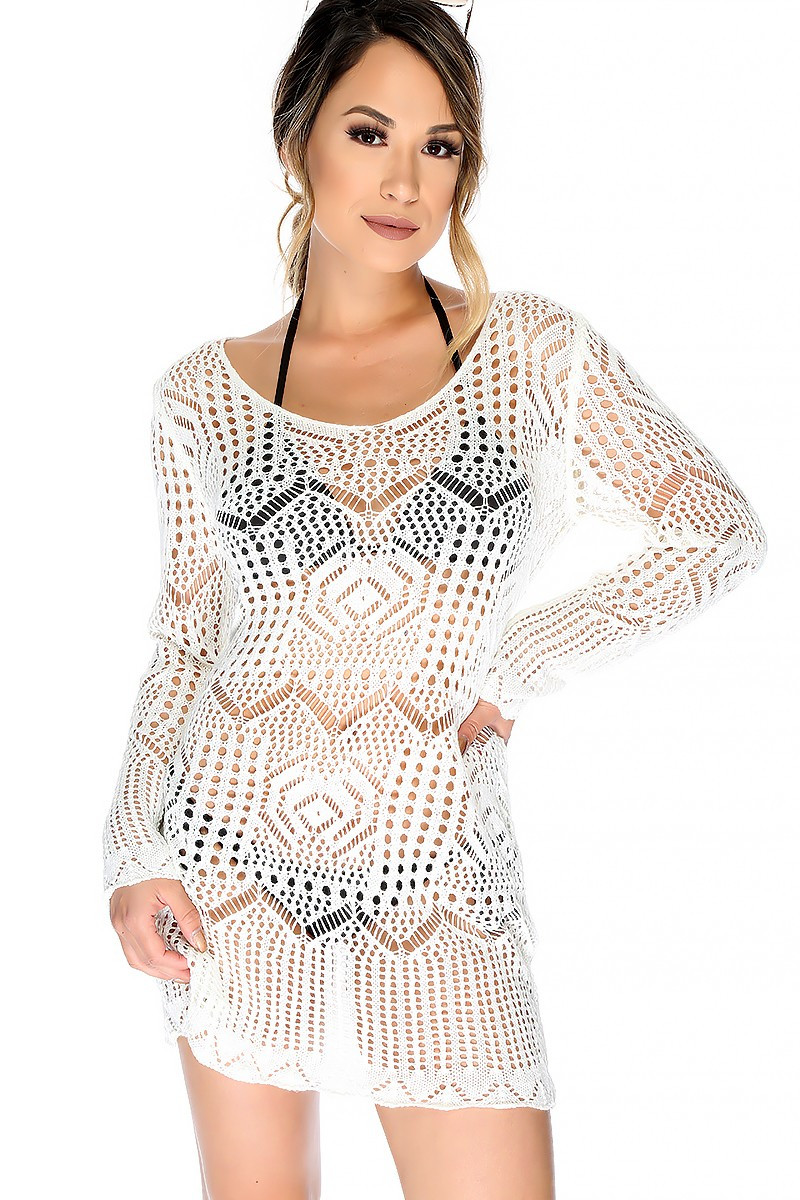 White Crochet Cover Up Awesome Y White Crochet Long Sleeve Swimsuit Cover Up Of Unique 42 Pictures White Crochet Cover Up