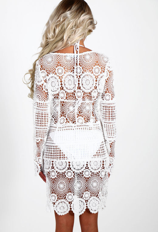 White Crochet Cover Up Beautiful Sweet Sicily White Crochet Long Sleeve Beach Cover Up Of Unique 42 Pictures White Crochet Cover Up