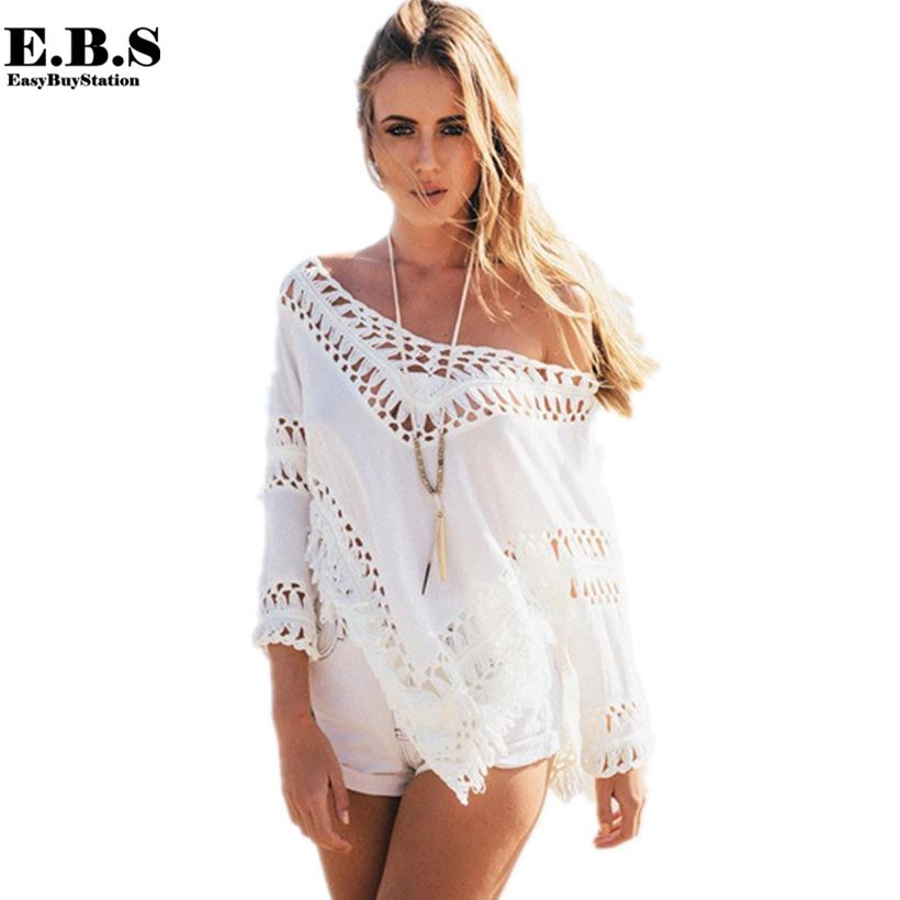 White Crochet Cover Up Fresh Aliexpress Buy 2015 White Blouse Crochet Beach Of Unique 42 Pictures White Crochet Cover Up