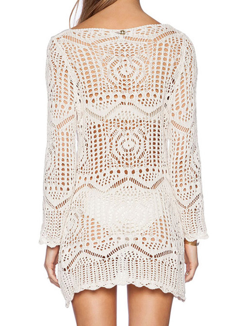 White Crochet Long Sleeve Beach Cover Up Dress top 365 day