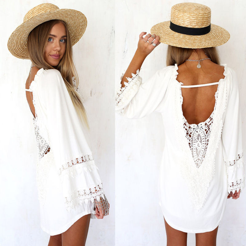 White Crochet Cover Up New Women White Lace Crochet Long Sleeve Bikini Cover Up Of Unique 42 Pictures White Crochet Cover Up