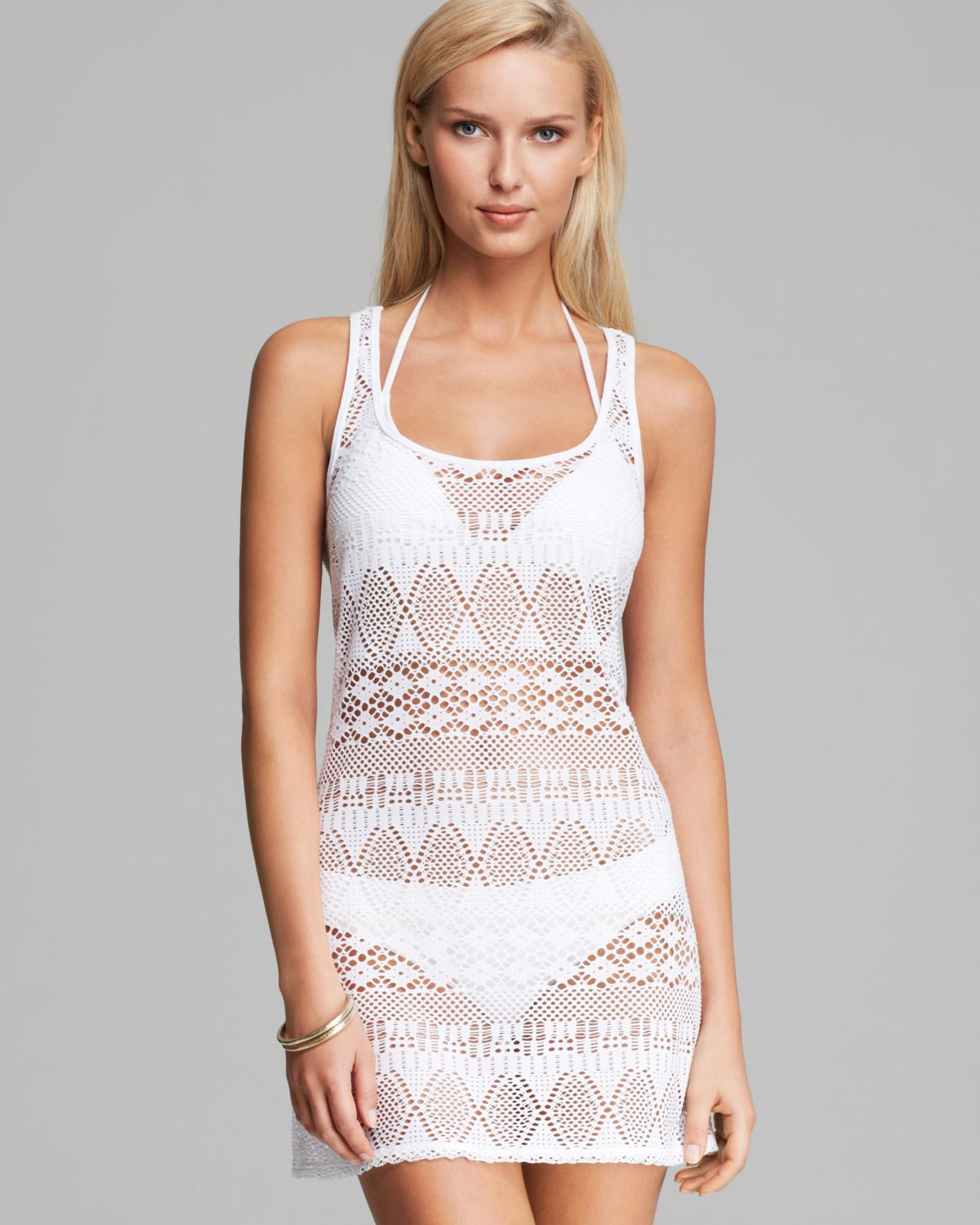 White Crochet Coverup Awesome Lyst Ralph Lauren Blue Label Oasis Crochet Tank Dress Of Unique 50 Models White Crochet Coverup