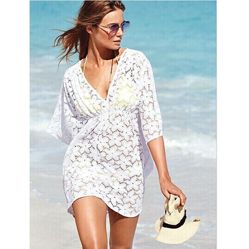 Beach Tunic Summer Dresses White Crochet Cover Up Beach