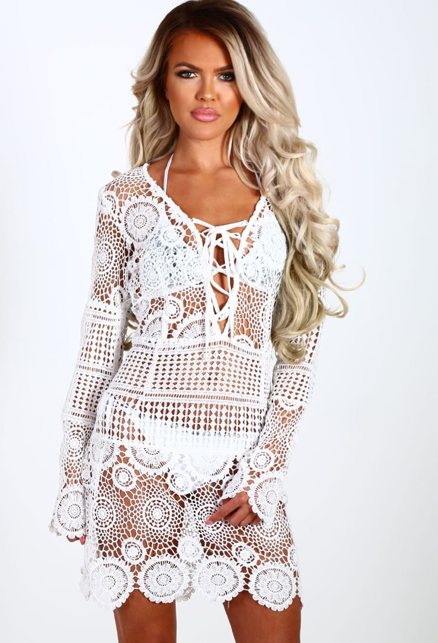 Sweet Sicily White Crochet Long Sleeve Beach Cover Up