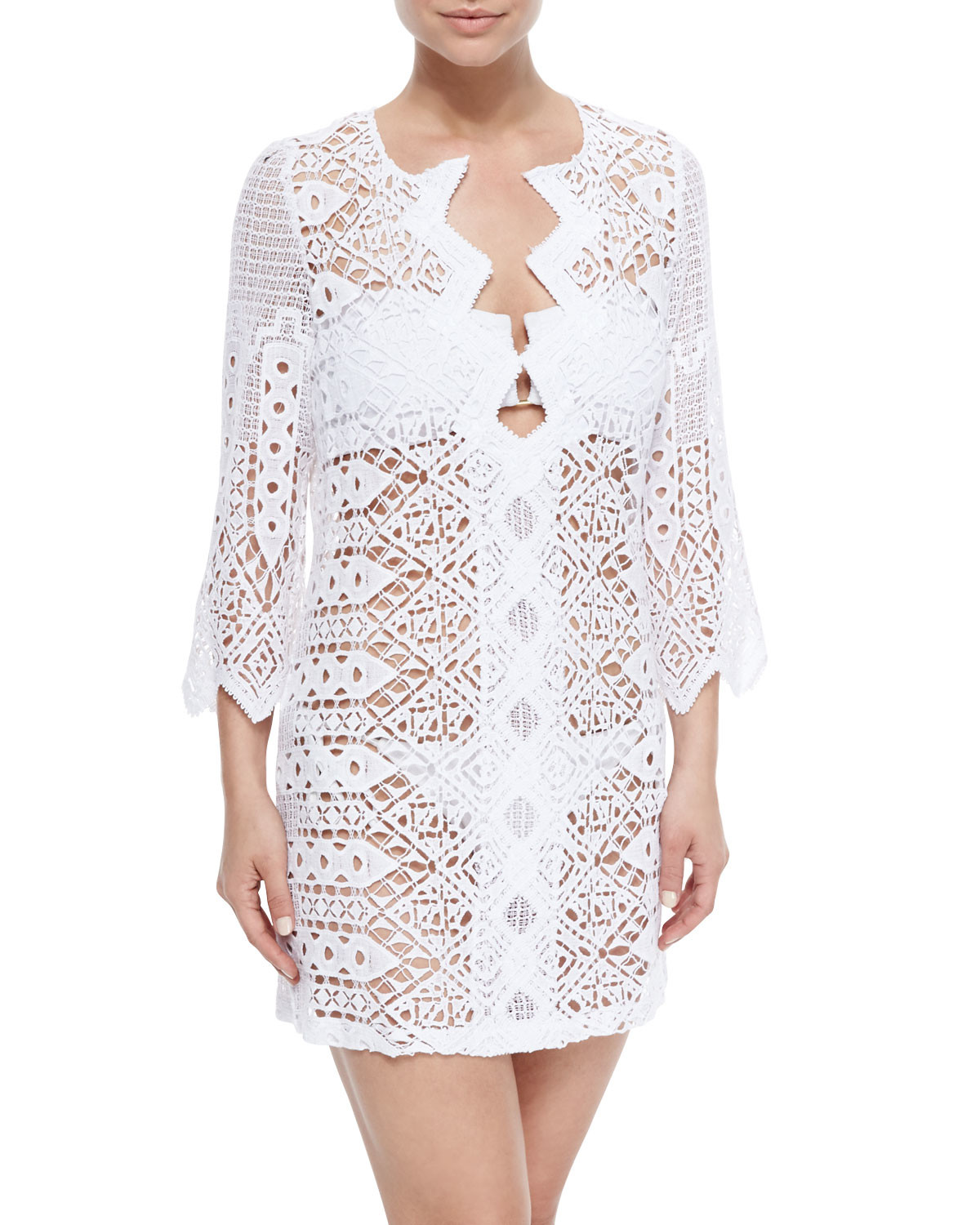 Miguelina Elliot Crochet Tunic Coverup in White