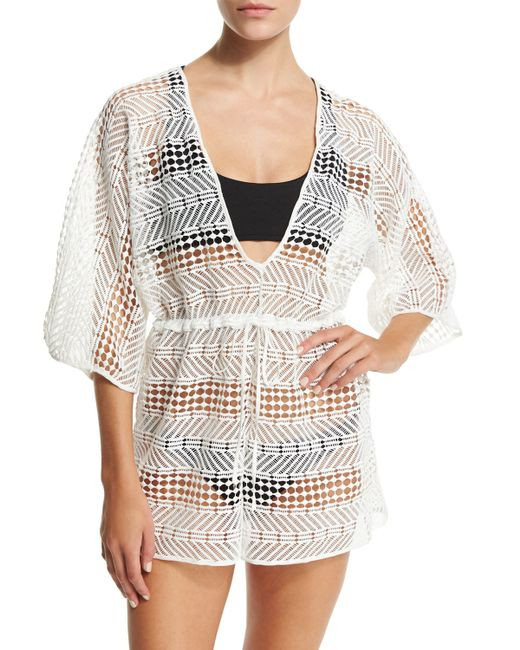 Milly Savona Crocheted Romper Coverup in White