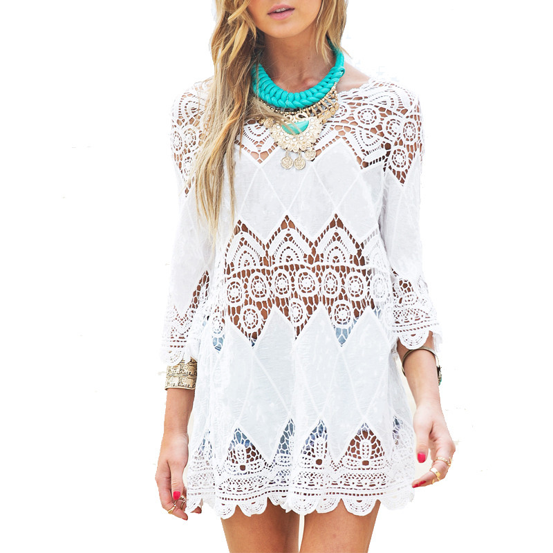 White Crochet Coverup Lovely Summer Blouse 2016 Women Long Sleeve Swimwear Beach Cover Of Unique 50 Models White Crochet Coverup