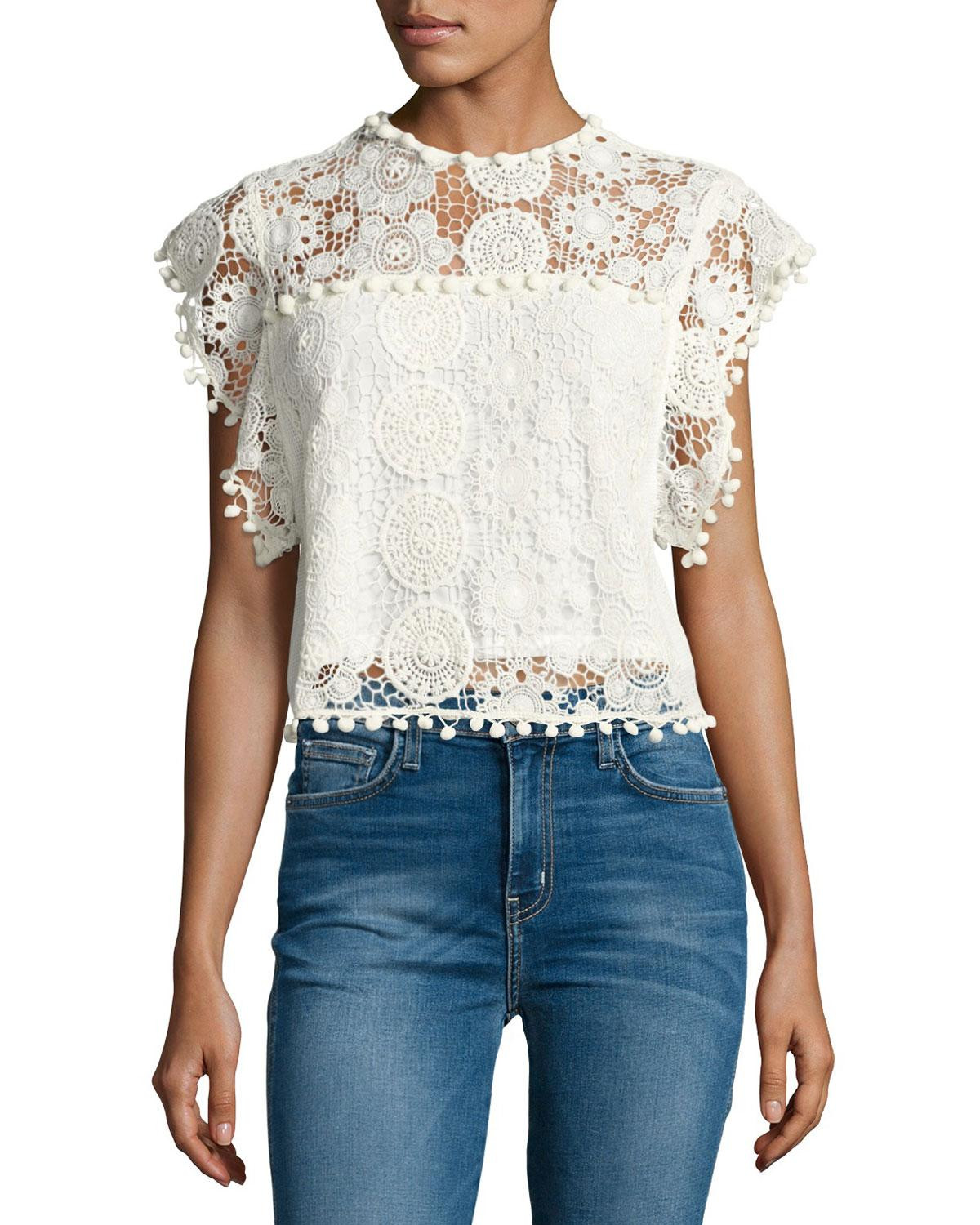 White Crochet Crop tops Awesome Lyst Tularosa Kennedy Crochet Crop top In White Of Gorgeous 46 Pics White Crochet Crop tops