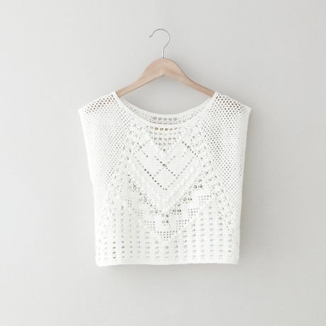White Crochet Crop tops Fresh Lauren Moffatt Crochet Crop top In White Of Gorgeous 46 Pics White Crochet Crop tops