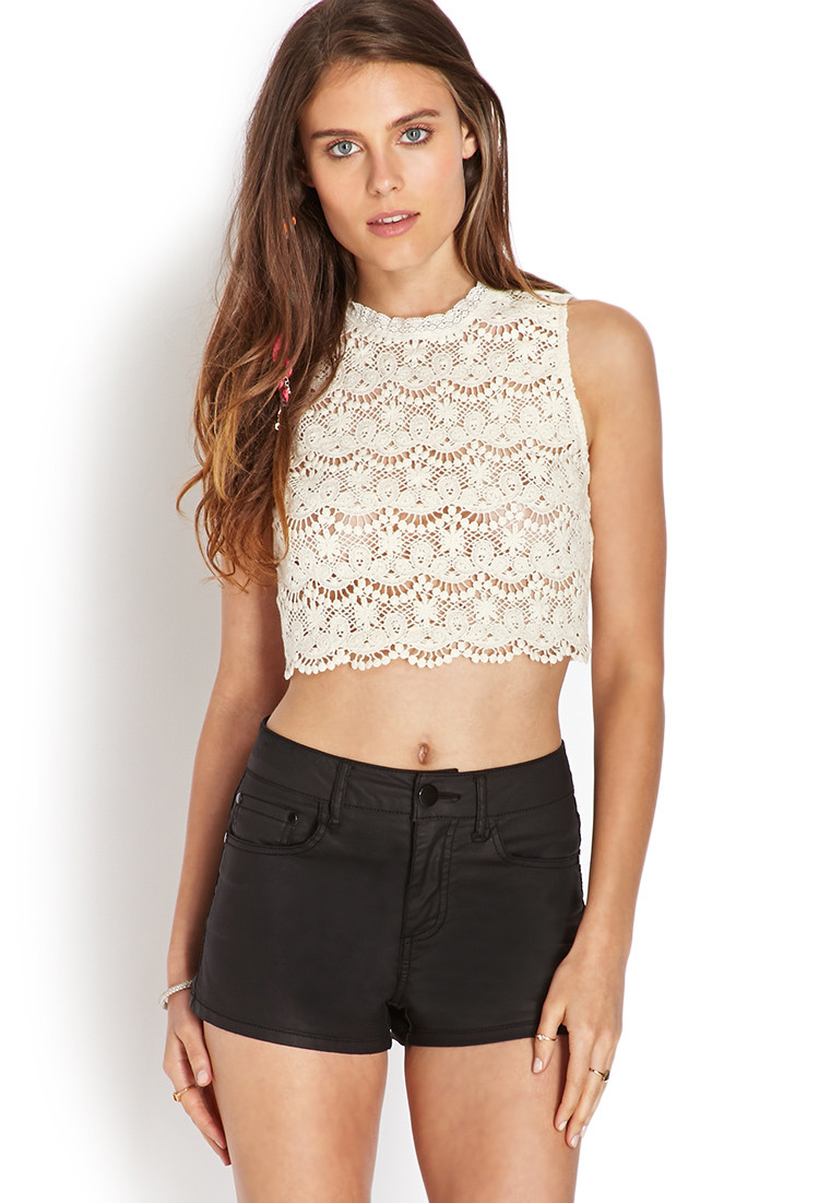 White Crochet Crop tops Fresh Lyst forever 21 Dainty Crocheted Crop top In White Of Gorgeous 46 Pics White Crochet Crop tops