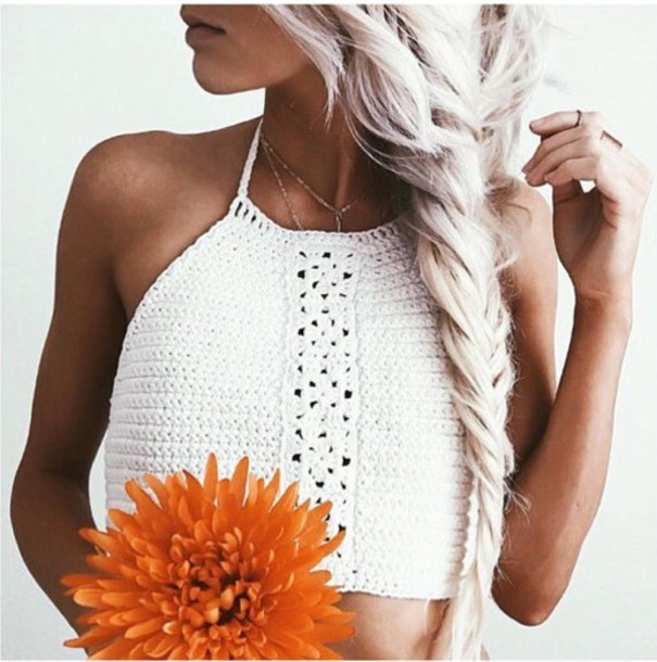 White Crochet Crop tops Inspirational top Girl Girly Girly Wishlist White White top Halter Of Gorgeous 46 Pics White Crochet Crop tops