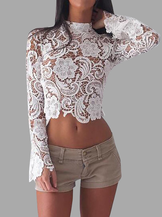 White Crochet Crop tops Lovely White Crochet Lace Hollow Out Stand Collar Crop top Us Of Gorgeous 46 Pics White Crochet Crop tops