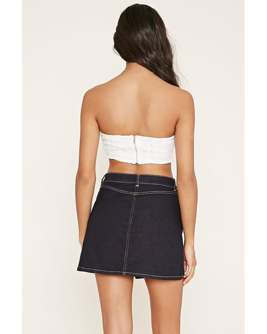 Forever 21 Square pattern Crochet Crop Top in White