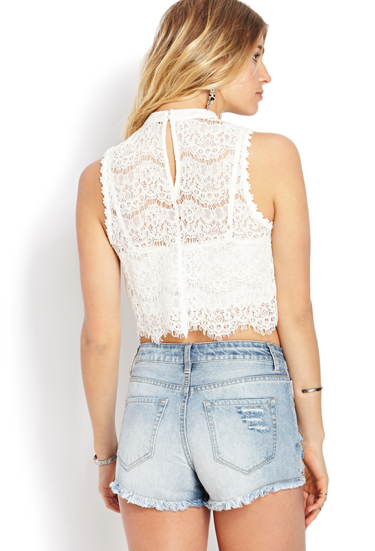 White Crochet Crop tops Luxury Lyst forever 21 Dainty Crochet Lace Crop top In White Of Gorgeous 46 Pics White Crochet Crop tops