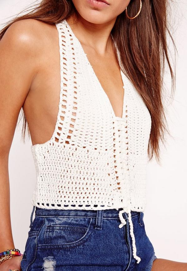 White Crochet Crop tops New Lace Up Crochet Crop top White Of Gorgeous 46 Pics White Crochet Crop tops