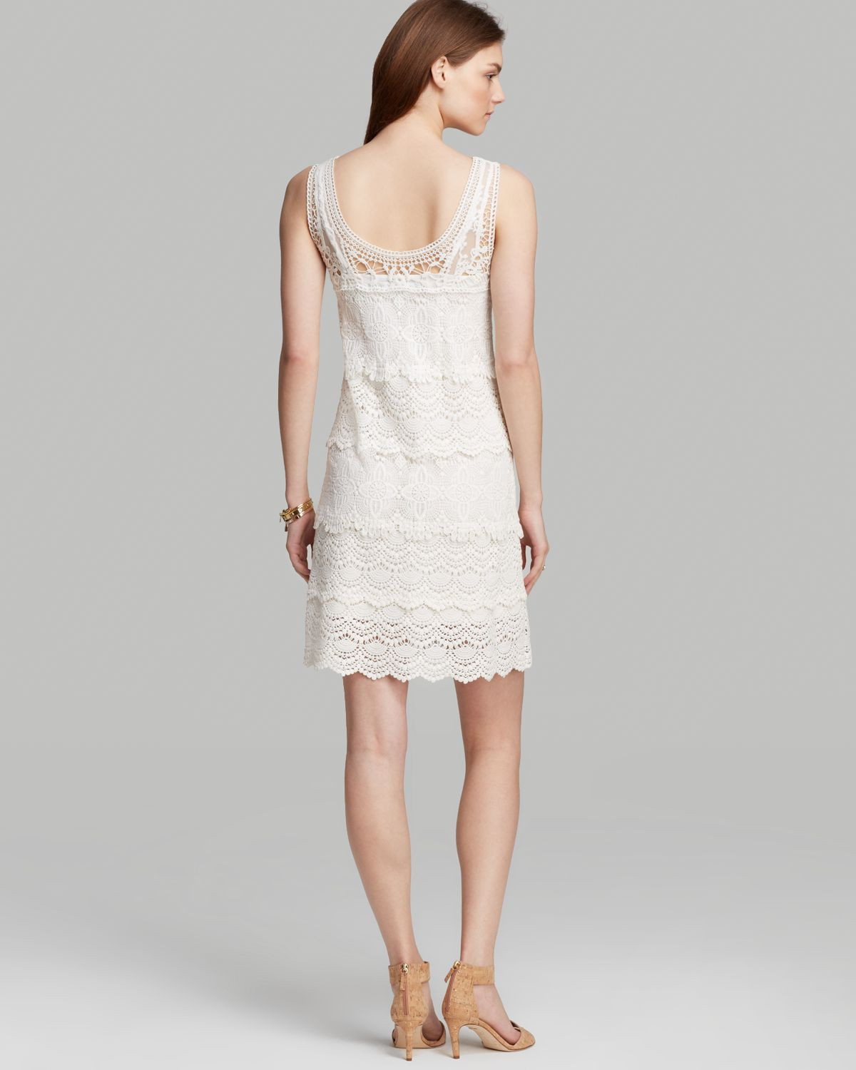 White Crochet Dress Awesome Lyst Adrianna Papell Sleeveless Crochet Dress In White Of Adorable 49 Pics White Crochet Dress