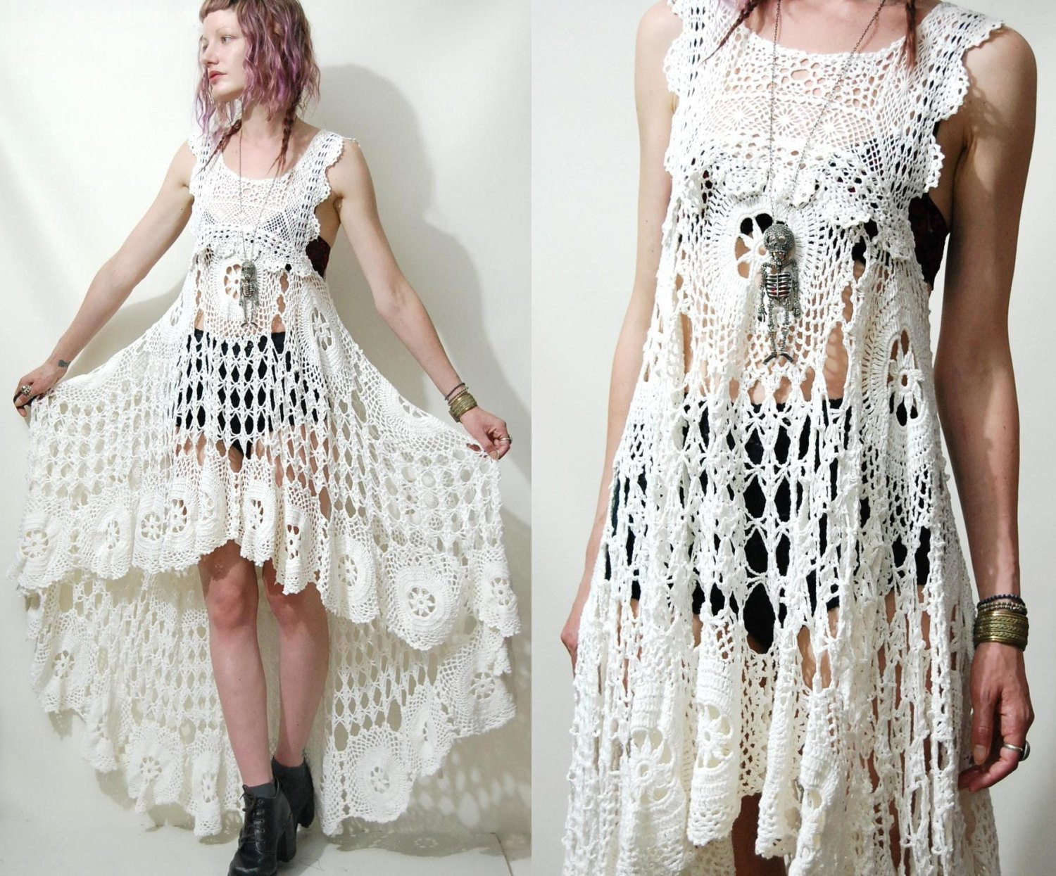 White Crochet Dress Fresh Crochet Dress Vintage Lace White Fishtail Train Bohemian Of Adorable 49 Pics White Crochet Dress