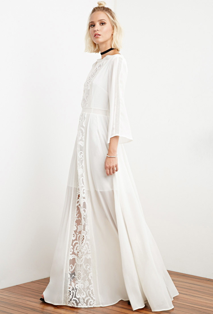 White Crochet Dress Inspirational Lyst forever 21 the Allflower Crochet Chiffon Maxi Dress Of Adorable 49 Pics White Crochet Dress