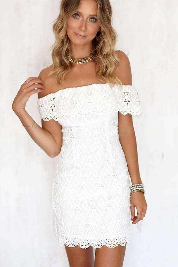 White Crochet Dress Inspirational White Crochet Lace F Shoulder Bodycon Dress Of Adorable 49 Pics White Crochet Dress