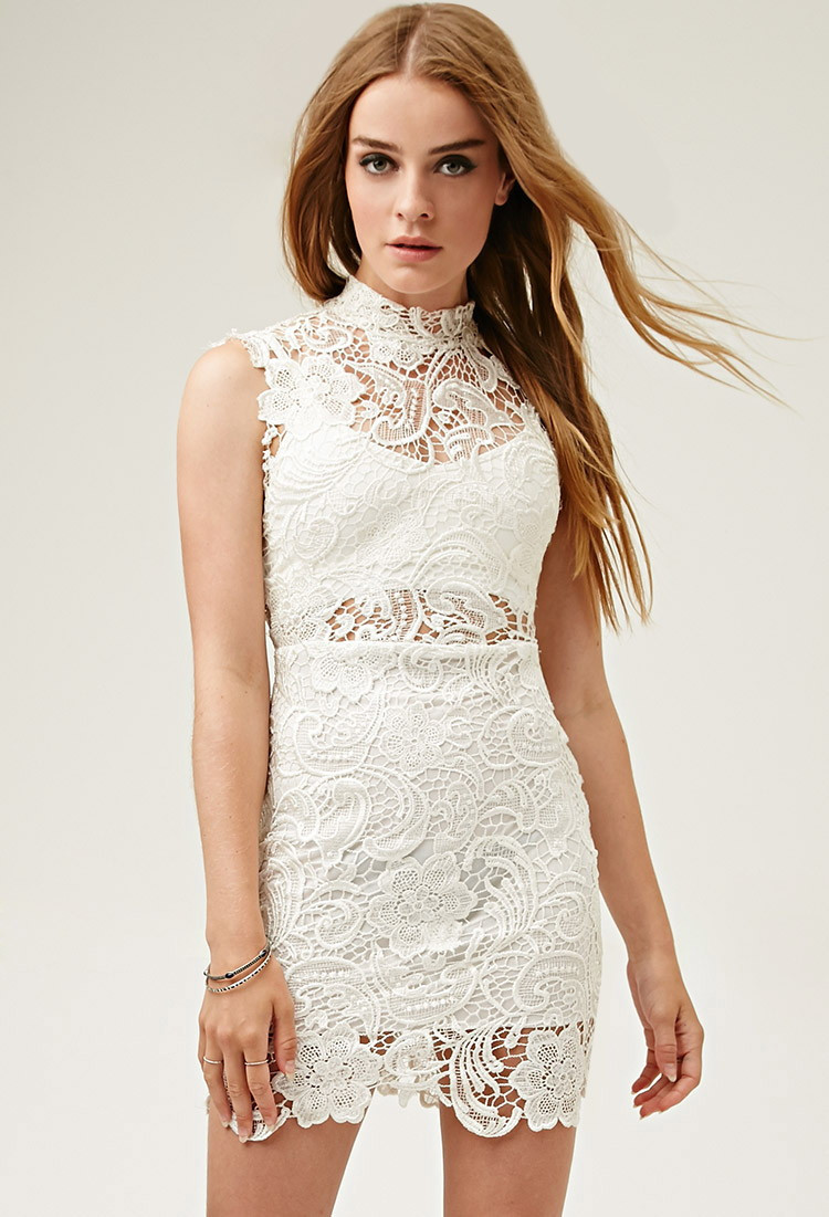 White Crochet Dress Lovely Lyst forever 21 Lovecat Crochet Mini Dress In White Of Adorable 49 Pics White Crochet Dress
