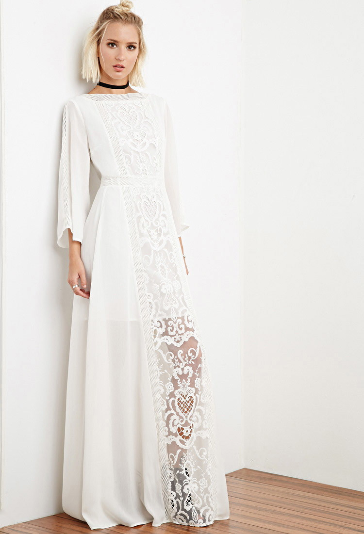 White Crochet Dress Lovely Lyst forever 21 the Allflower Crochet Chiffon Maxi Dress Of Adorable 49 Pics White Crochet Dress