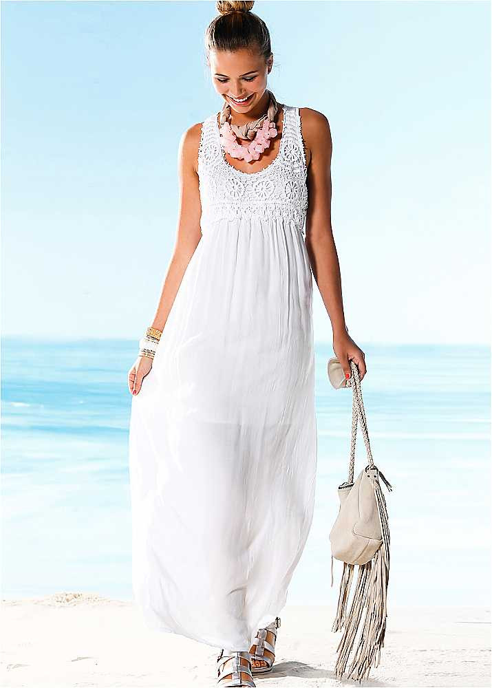 White Crochet Bust Maxi Dress