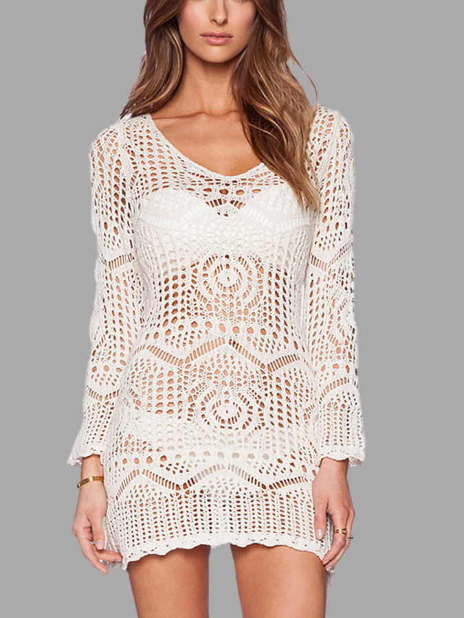 White See Through Lace Crochet Dress US$19 95 YOINS