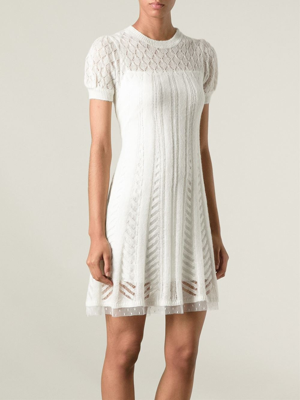 White Crochet Dress New Lyst Red Valentino Crochet Knit Dress In White Of Adorable 49 Pics White Crochet Dress