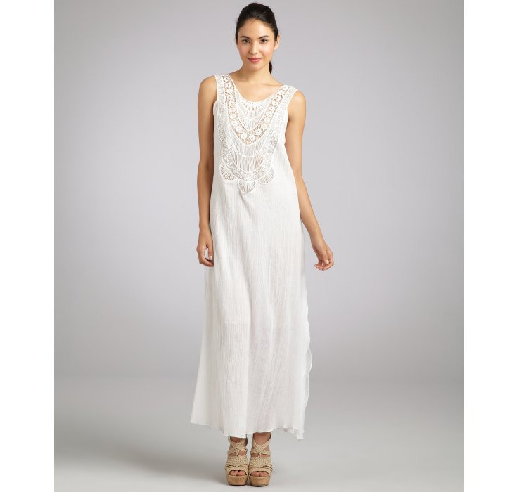 White Crochet Maxi Dresses Best Of Lyst Miguelina White Cotton Gauze Leighanne Crochet Of Great 44 Pics White Crochet Maxi Dresses