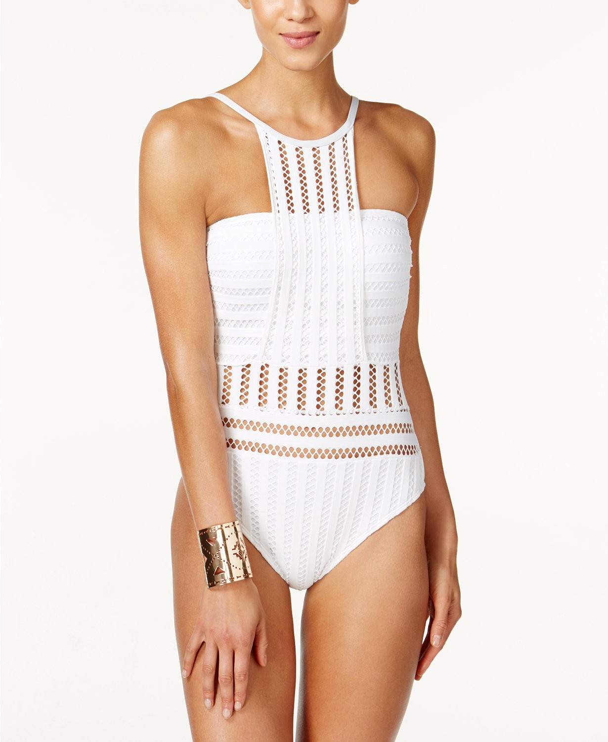 White Crochet One Piece Swimsuit Luxury Kenneth Cole tough Luxe Crochet High Neck E Piece Of Top 42 Images White Crochet One Piece Swimsuit