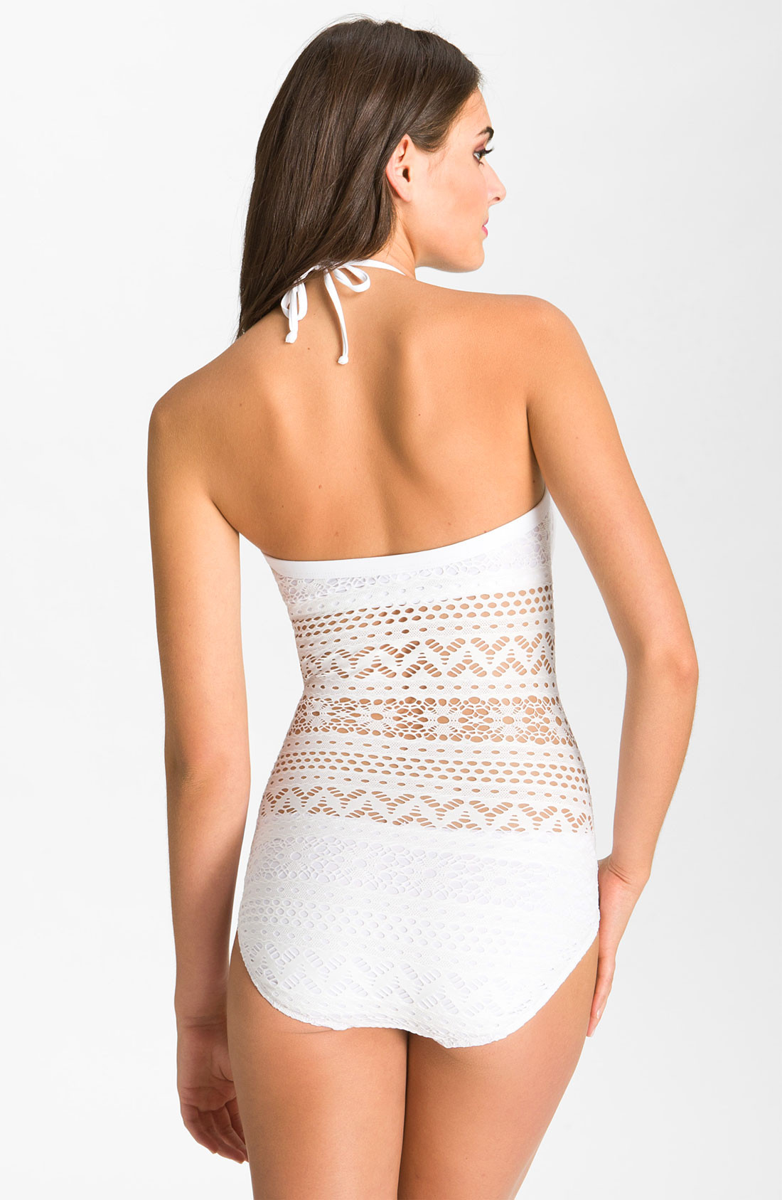 White Crochet Swimsuit Awesome Lyst Robin Piccone Penelope Crochet Overlay E Piece Of Top 50 Photos White Crochet Swimsuit