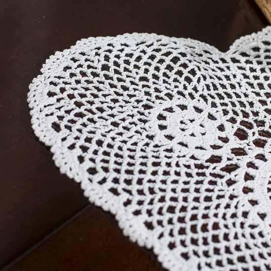 White Heart Doily Crochet and Lace Doilies Home