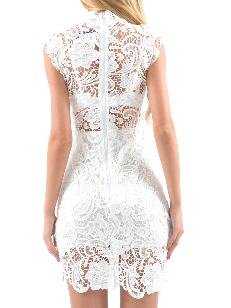 white high neck crochet lace bodycon dress