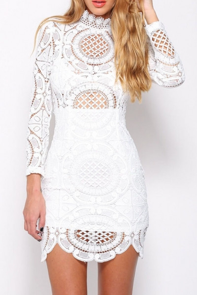 White Lace Crochet Dress Best Of White Crochet Lace High Neck Mini Dress Oasap Of Awesome 48 Photos White Lace Crochet Dress