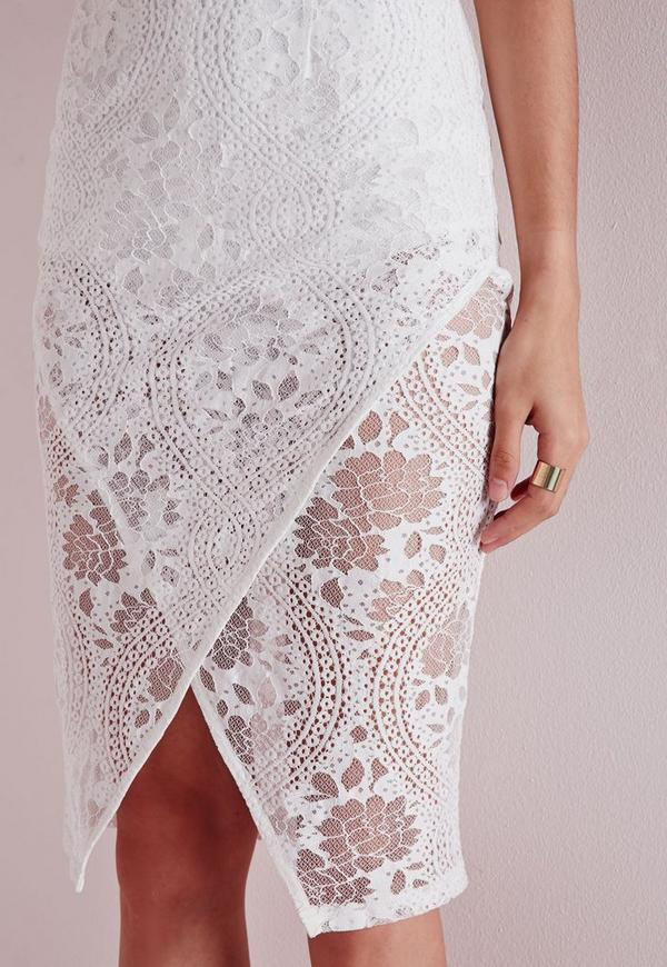 White Lace Crochet Dress Elegant Crochet Lace origami Midi Dress White Of Awesome 48 Photos White Lace Crochet Dress