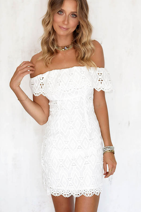 White Lace Crochet Dress Fresh White Crochet Lace F Shoulder Bodycon Dress Of Awesome 48 Photos White Lace Crochet Dress