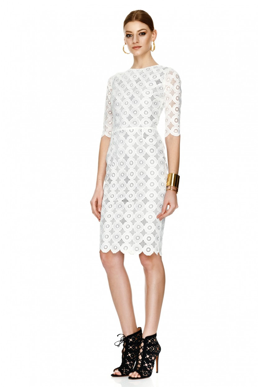 White Crocheted Lace Dress PNK Casual